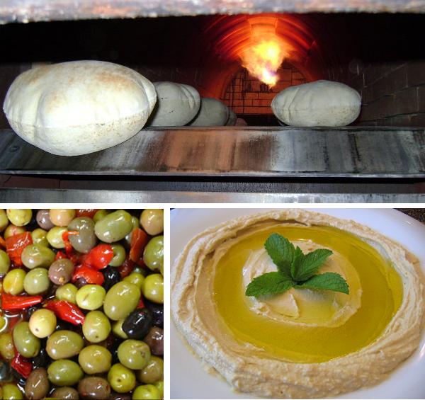 baiz market middle eastern fresh pita and hummus olives