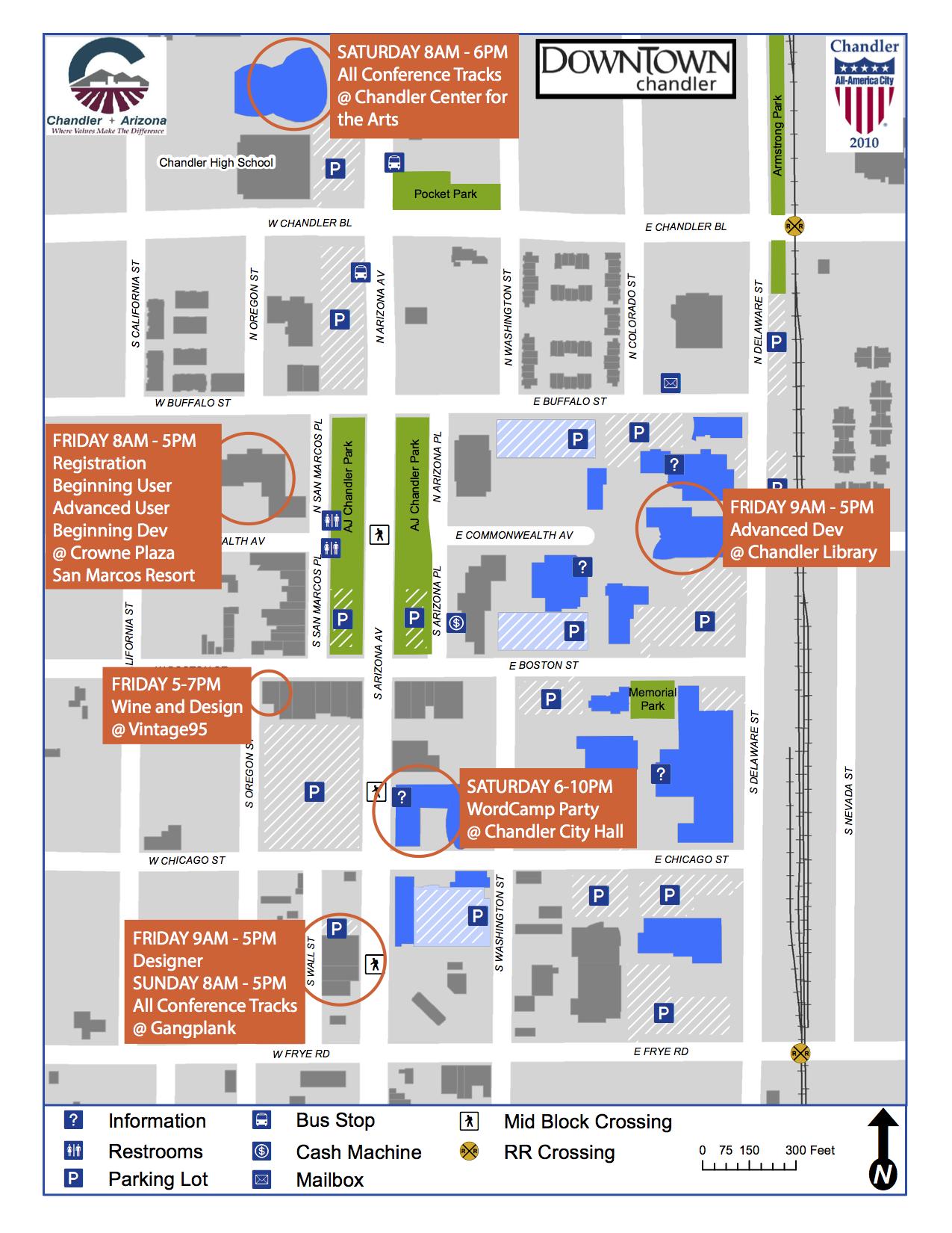 WordCamp Phoenix 2014 - Map of Chandler, AZ